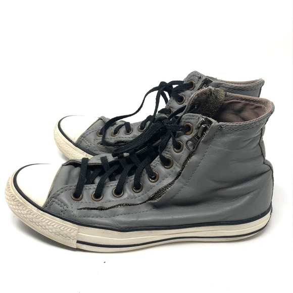0c64ef73e63a Converse Shoes - Grey leather double zip Converse High Tops  4